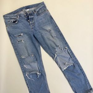 H&M distressed boyfriend jeans